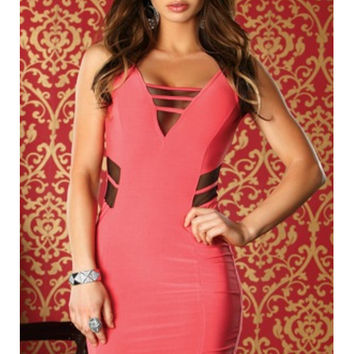 V Neck Mesh Inset Mini Dress