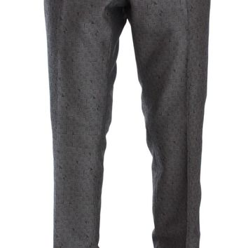 Gray Pattern Wool Silk Formal Pants