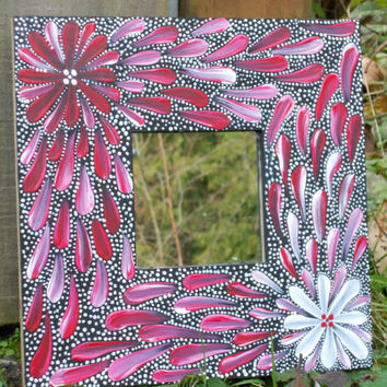 Australian Aboriginal Inspired Painted Mirror Red by Acires