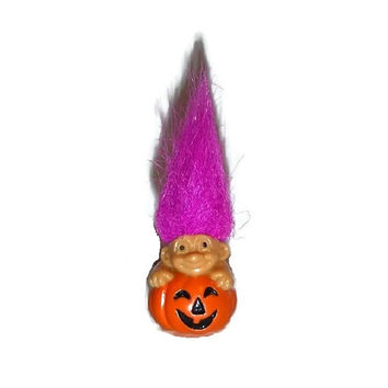 Mini RUSS Halloween Troll Popping Out of Pumpkin Vintage 1980s Collectible 80s Miniature Doll Fuschia Hair RARE Toy Hot Pink Spiked Hairdo