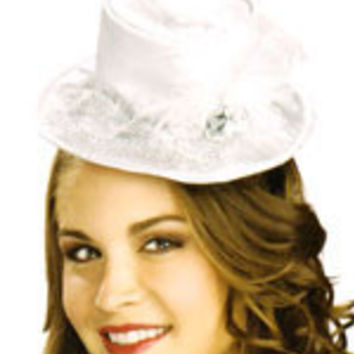 White Mini Top Hat with Mesh and Feather