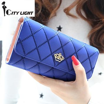 2016 new fashion women wallets Lingge metal crown lady long wallet high quality clutch purse for women freeshipping