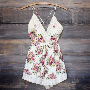 White Floral Print Strappy Back Crisscross Romper
