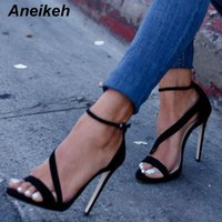 Aneikeh Big Shoe Size 41 42 New Sexy Design Women Line Style Buckle Thin High Heels Black Faux Suede Open Toe Dress Sandals