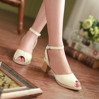 Ankle Straps Sandals Peep Toes Women Pumps High Heels Shoes Woman