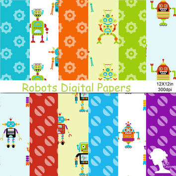 Digital Papers: INSTANT DOWNLOAD Cartoon Robots in Blue, Green, Red, Yellow, Orange & Purple