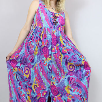 SALE - 90s - Bright Abstract Print - Babydoll Tank - Crinkle Gauze - Long Maxi Dress