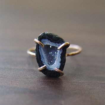 SALE Black Geode Druzy Ring OOAK Gold Filled