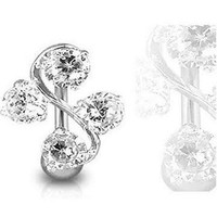 Surgical Steel Clear Elegant Four Gem Cz Vine Reverse Classic Belly Button Naval Ring 14 Gauge B210