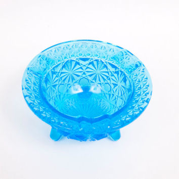 Vintage Fenton Turquoise Glass Daisy Button Kettle Ashtray Footed Bowl Pressed Glass Aqua Blue Ashtray