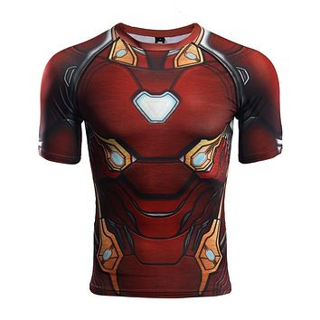 Raglan Sleeve Compression Shirts Avengers 3 Iron Man 3D Printed T shirts Men 2018 Summer NEW Cosplay Costume Top For MaleCloth