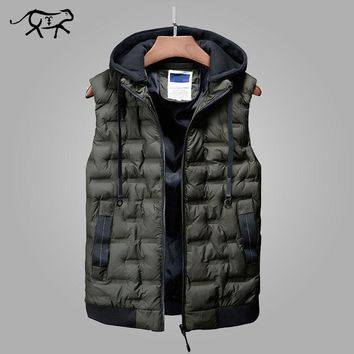 New Brand Men Winter Jackets Casual Thick Vest Men Sleeveless Hoodie Coats Male Warm Casual Slim Waistcoat Colete Masculino