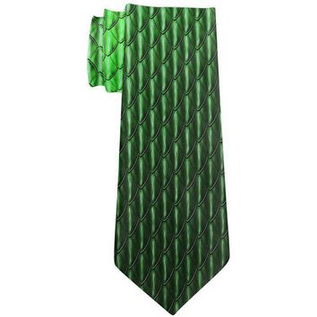 DCCKJY1 Halloween Green Earth Dragon Scales Costume All Over Neck Tie