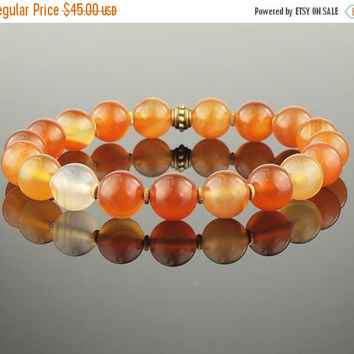 On Sale Carnelian Stretch Bracelet Amber Orange Stone Mala Ethnic Tribal Natural Gemstone Jewelry Hill Tribe Silver For Him For Her