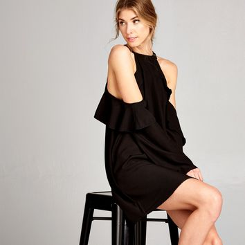 Ruffle Cutout Shift Dress