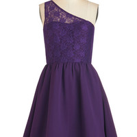 Mid-length One Shoulder Fit & Flare Plum Kind of Wonderful Dress