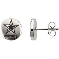 My Associates Store - Dallas Cowboys Official NFL Logo Stud Earrings, Stainless Steel and Black Enamel