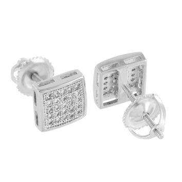 Mens White Finish Earrings 7 MM Screw Back Simulated Diamonds