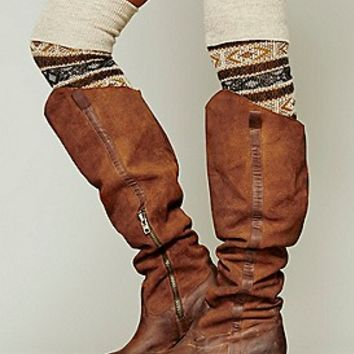 Jeffrey Campbell + Free People Womens Maybell Tall Boot - Tan Distressed,