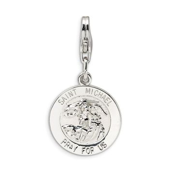 925 Sterling Silver Saint Michael Medal with Lobster Clasp Charm