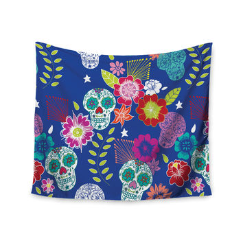 "Anneline Sophia ""Day of the Dead"" Blue Aztec Wall Tapestry"