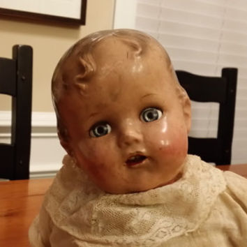 Vintage 1940s Composition Doll With Teeth Painted Nails Soft Body Great Collectible Creepy Decor