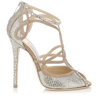 Nude and Champagne Suede and Glitter Fabric Sandals with Hotfix Crystals   Kasava   Autumn Winter 14   JIMMY CHOO Women Sale