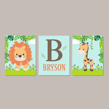 Jungle Animals, Safari Nursery Decor, Baby Animal Prints, Boy Nursery Decor, Baby Shower Gift, Boy Nursery Art, Set of 3 Prints Or Canvas