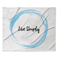 "KESS Original ""Live Simply"" Blue White Fleece Throw Blanket"