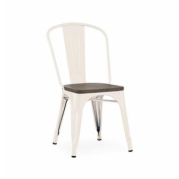 Dreux Glossy Cream Elm Wood Stackable Side Chair (Set of 4)