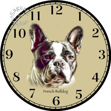 """Black and White French Bulldog Simplify Drawings Art -DIY Digital Collage - 12.5"""" DIA for 12"""" Clock Face Art - Crafts Projects"""