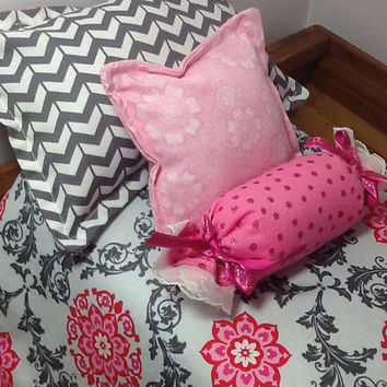 Doll Bedding with pink flowers and grey swirls, grey chevron, 2 pillows and bolster for 18 inch doll, 4 piece set, pink and grey