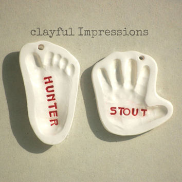 Personalized Baby Gift, Footprint OR Handprint Ceramic Ornament,  Special Occasion keepsake of your Baby and Kids