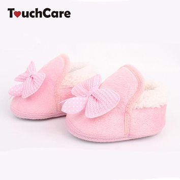 Butterfly-knot Winter Warm Baby Shoes Soft Bottom Non-slip Bow Toddler shoes First walkers Newborn Baby Boys Footwear