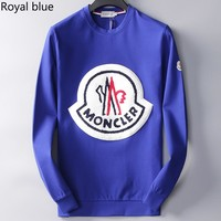 MONCLER 2018 new fashion trend round neck pullover sweater royal blue