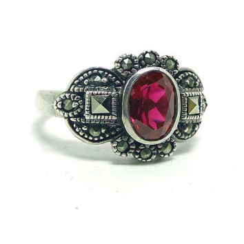 Sterling Ruby Ring with Marcasites - Red Black and Silver - Marked 925 - Vintage Art Deco Style