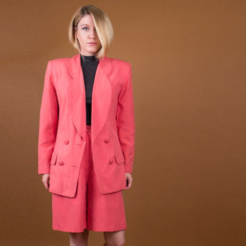 SILK pantsuit / 80's pink silk shorts + blazer set / high waisted silk shorts / Vintage 1980s outfit / minimalist power suit tailored S