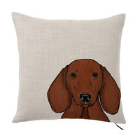 "Red Dachshund Wiener Dog Color Portrait Design Cotton Linen Square Decorative Throw Pillow Case Cushion Cover 16"" X 16"""