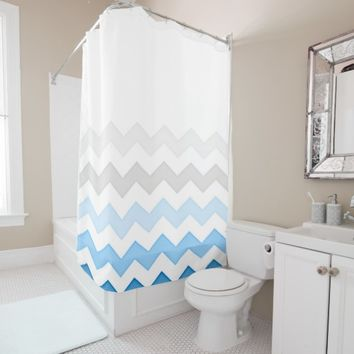 Land and Sea Chevron Shower Curtain