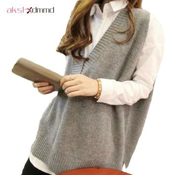 AKSLXDMMD 2017 Spring Autumn Plus Size Mid-long Sleeveless V-neck Loose Pullover Women Vest Sweater Female Jersey Mujer ZL2181