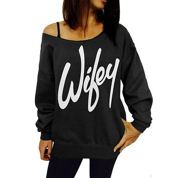 Graphic Sweatshirts - Printed Off Shoulder Lips - Wifey - Anchor