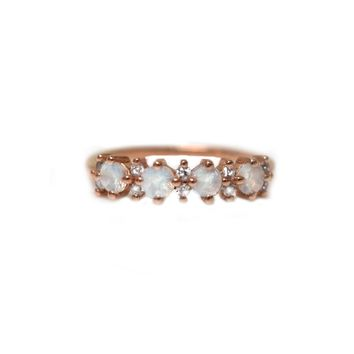 Rose Gold Rainbow Moonstone & Diamond Farah Ring