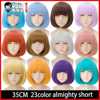 Cool HSIU 35cm short bobo Wig Black white purple blue red yellow high temperature fiber Synthetic Wigs Costume Party Cosplay WigAT_93_12