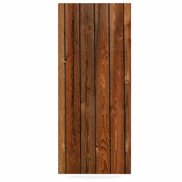 "Susan Sanders ""Rustic Wood Wall"" Nature Brown Luxe Rectangle Panel"