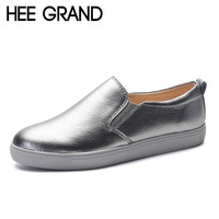 HEE GRAND Silver Loafers Cow Split Leather Platform Shoes Woman Creepers Slip On Flats High Quality Casual Women Shoes XWD4508