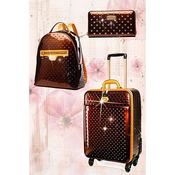 Starz Art 3PC Set | Luxury Women Overnight Bag Set with Spinning Wheels