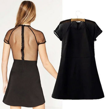 Summer Simple Design Women's Fashion Lace Mosaic Decoration Short Sleeve Dress One Piece Dress [6033315841]