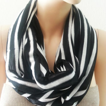 Black White Striped Cotton Knit Very Soft Chunky Large Infinity Scarf