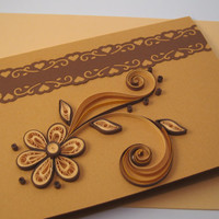 Quilled Birthday Card - Paper Handmade Greeting Card - Thank You, I Love You, Thinking of You - Quilling Flower