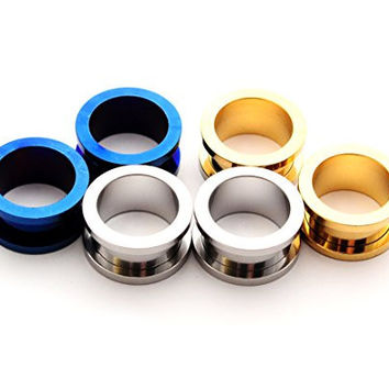 Set of 3 Pairs Steel Screw on Tunnels - 0g - 8mm - (Blue, Gold, Steel)